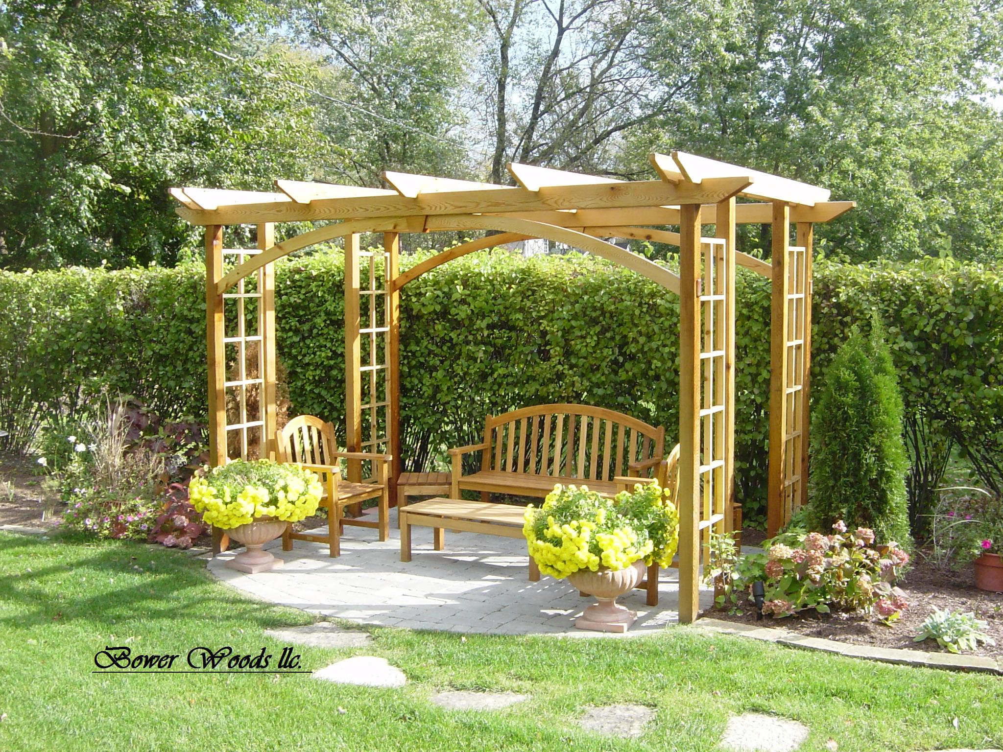 Wisteria arbor plans backyard arbor for Craftsman landscape design ideas